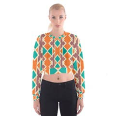 Rhombus triangles and other shapes   Women s Cropped Sweatshirt
