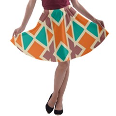Rhombus triangles and other shapes A-line Skater Skirt