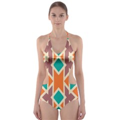 Rhombus triangles and other shapes Cut-Out One Piece Swimsuit