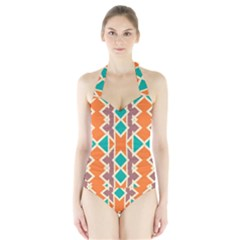 Rhombus triangles and other shapes Women s Halter One Piece Swimsuit