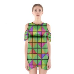 3D rhombus pattern Women s Cutout Shoulder Dress