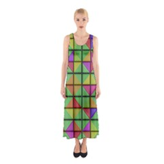 3d Rhombus Pattern Full Print Maxi Dress
