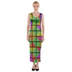 3D rhombus pattern Fitted Maxi Dress