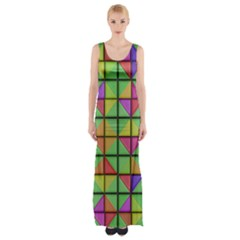 3D rhombus pattern Maxi Thigh Split Dress