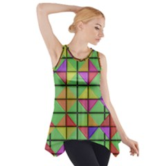 3d Rhombus Pattern Side Drop Tank Tunic