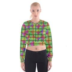 3D rhombus pattern   Women s Cropped Sweatshirt