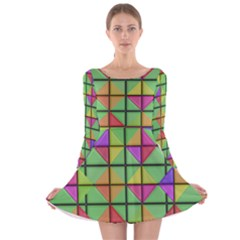3D rhombus pattern Long Sleeve Velvet Skater Dress