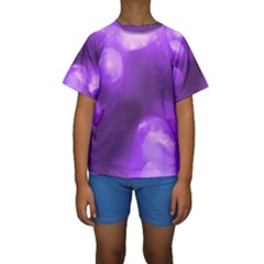 Purple Circles Kid s Short Sleeve Swimwear