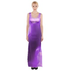 Purple Circles Maxi Thigh Split Dress