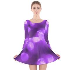 Purple Circles Long Sleeve Velvet Skater Dress