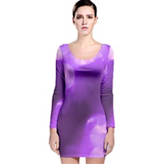 Purple Circles Long Sleeve Velvet Bodycon Dress