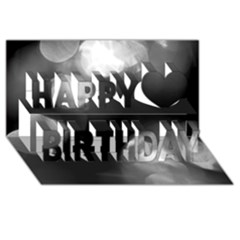 Black And White Circle Happy Birthday 3d Greeting Card (8x4)