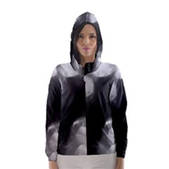 Black and White Circle Hooded Wind Breaker (Women)