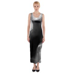 Black And White Circle Fitted Maxi Dress