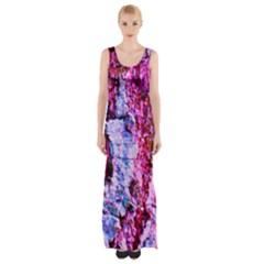 Purple Tree Bark Maxi Thigh Split Dress