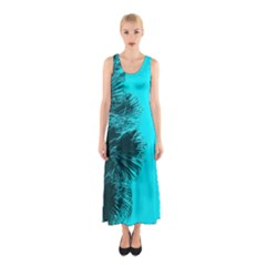 Modern Palm Leaves Full Print Maxi Dress