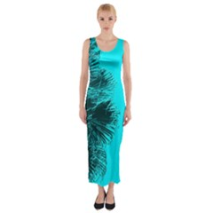 Modern Palm Leaves Fitted Maxi Dress