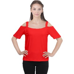 Trendy Red  Women s Cutout Shoulder Tee