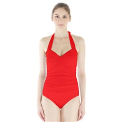 Trendy Red  Women s Halter One Piece Swimsuit