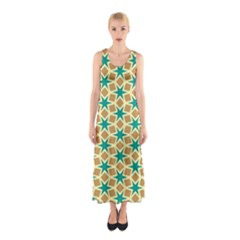 Stars And Squares Pattern Full Print Maxi Dress