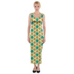 Stars And Squares Pattern Fitted Maxi Dress
