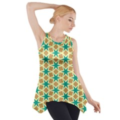 Stars and squares pattern Side Drop Tank Tunic