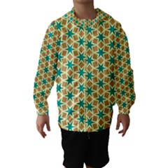 Stars and squares pattern Hooded Wind Breaker (Kids)
