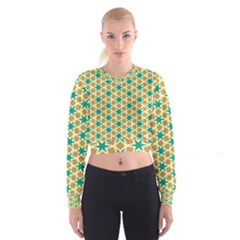 Stars And Squares Pattern   Women s Cropped Sweatshirt