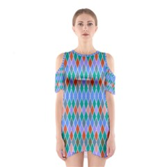 Pastel rhombus patternWomen s Cutout Shoulder Dress