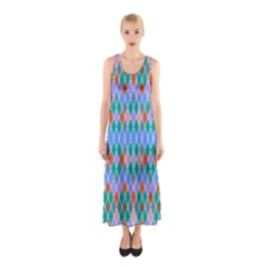 Pastel Rhombus Patternfull Print Maxi Dress