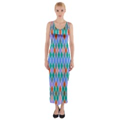Pastel rhombus patternFitted Maxi Dress