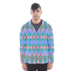 Pastel rhombus patternMesh Lined Wind Breaker (Men)