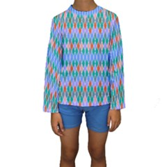 Pastel rhombus pattern Kid s Long Sleeve Swimwear