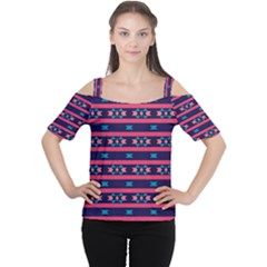 Stripes and other shapes pattern Women s Cutout Shoulder Tee
