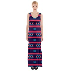 Stripes and other shapes pattern Maxi Thigh Split Dress