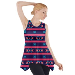 Stripes and other shapes pattern Side Drop Tank Tunic
