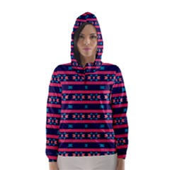 Stripes And Other Shapes Pattern Hooded Wind Breaker (women)
