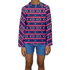 Stripes And Other Shapes Pattern  Kid s Long Sleeve Swimwear
