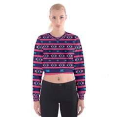 Stripes And Other Shapes Pattern   Women s Cropped Sweatshirt