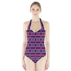 Stripes And Other Shapes Pattern Women s Halter One Piece Swimsuit