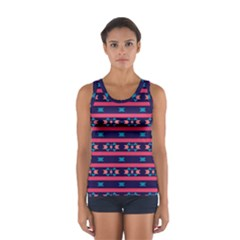Stripes and other shapes pattern Women s Sport Tank Top