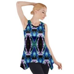 Blue, Light Blue, Metallic Diamond Pattern Side Drop Tank Tunic