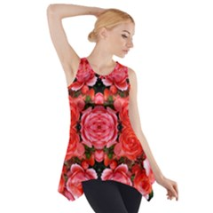 Beautiful Red Roses Side Drop Tank Tunic