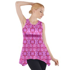 Pretty Pink Flower Pattern Side Drop Tank Tunic