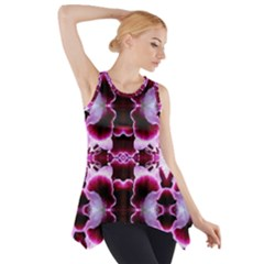 White Burgundy Flower Abstract Side Drop Tank Tunic