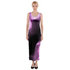 Purple Circles No. 2 Fitted Maxi Dress