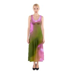 Pink and Green Circles Full Print Maxi Dress