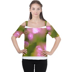 Pink and Green Circles Women s Cutout Shoulder Tee