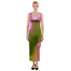 Pink and Green Circles Fitted Maxi Dress
