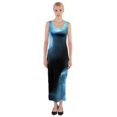 Blue Circles Fitted Maxi Dress